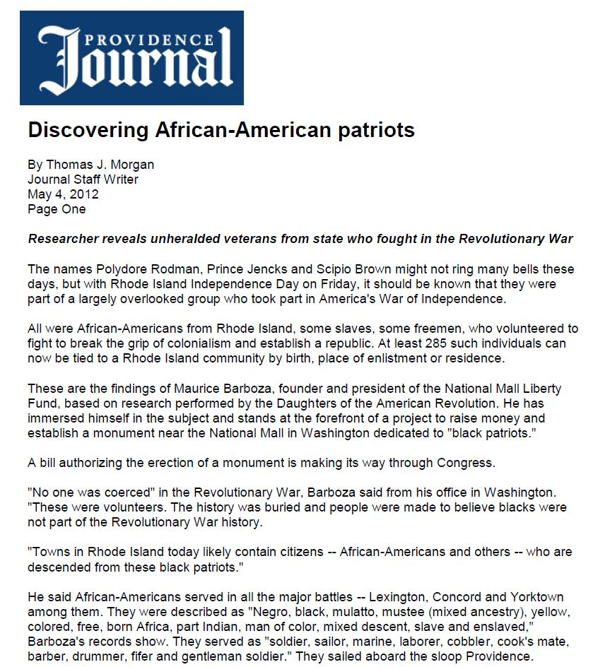 Providence Journal Discovering African American Patriots
